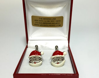 Santa Claus Enamel 18mm Cufflinks Holiday Wedding Gifts, Groomsmen's Gift,
