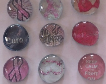 9 Breast Cancer awareness ribbons glass gem bubble magnets pink fundraiser