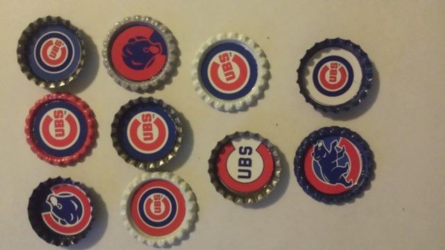 10 Chicago Cubs bottle cap magnets cupcake toppers Christmas  05dc682ec1d