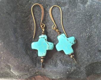 Rustic Turquoise Stone Cross Earrings, Santa Fe Earrings,Southwest Turquoise Earrings,Cowgirl Earrings