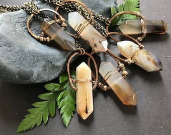 Double Point Crystal Necklace - Boho Hippie Agate Pendant with Brass Chain - One of a Kind Artisan Necklace