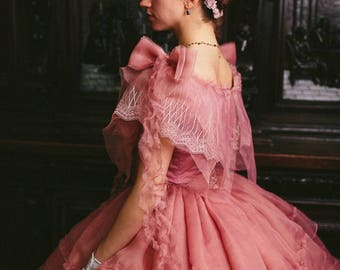 102f6dcd20529 Civil War Rose Dress, 1860s Ball Gown