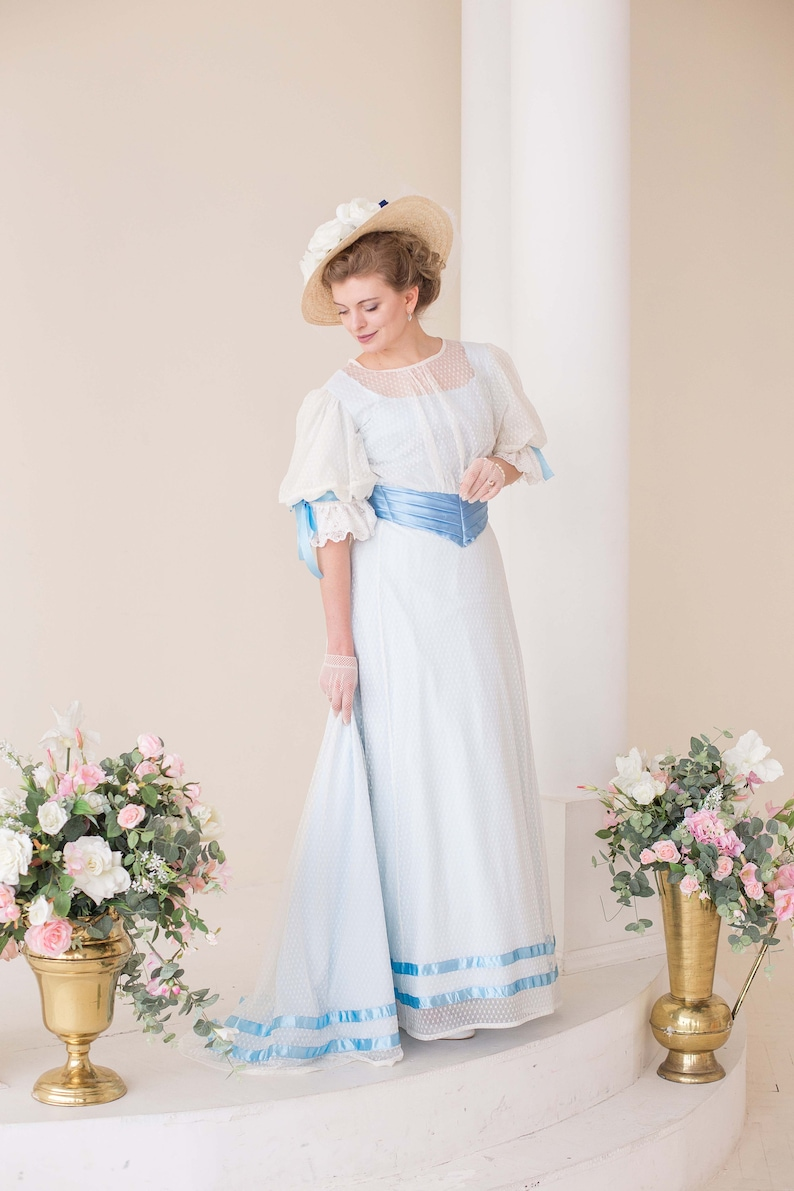 1900 Edwardian Dresses, Tea Party Dresses, White Lace Dresses Creamy Blue Edwardian Tea Gown 1900s Walking Gown $340.00 AT vintagedancer.com