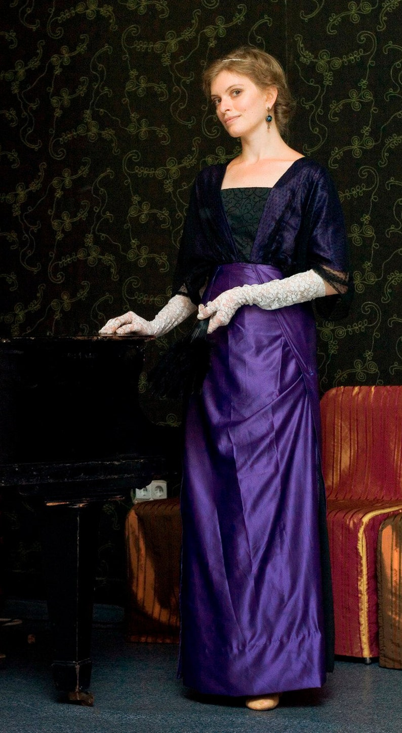 Vintage Tea Dresses, Floral Tea Dresses, Tea Length Dresses Edwardian Violet Dress Titanic Era Gown Downtown Abbey 1910s Costume $280.00 AT vintagedancer.com