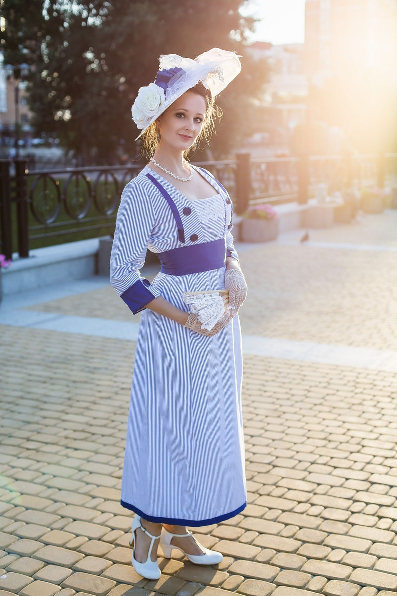 Old Fashioned Dresses | Old Dress Styles 1910s Seaside Dress Striped Titanic Dress Downtown Abbey Tea Gown $330.00 AT vintagedancer.com