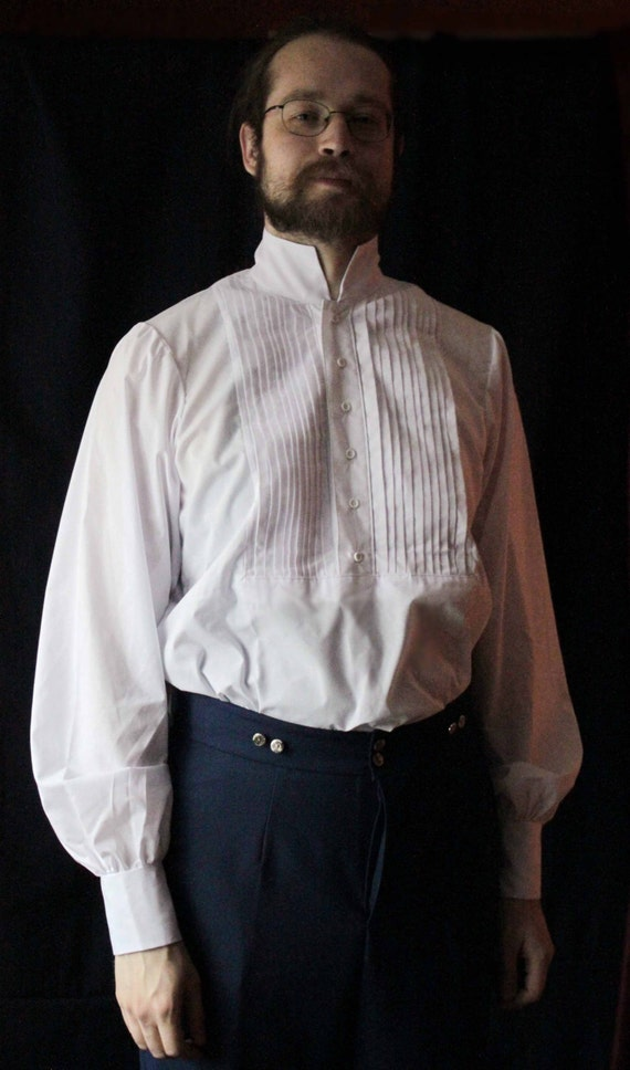 Victorian Men's Shirts- Wingtip, Gambler, Bib, Collarless American Civil War Mens Cotton Shirt With Pleating $120.00 AT vintagedancer.com