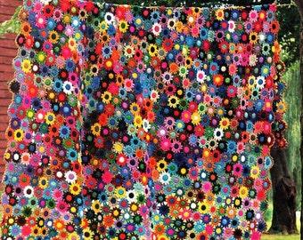Crochet Afghan Blanket PDF Meadow Flower Afghan Pattern Motifs Joined As You Go - No Sewing!