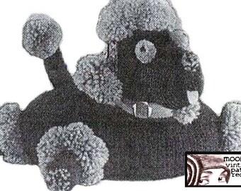 Crochet Poodle Puppy Dog Pillow Cushion Pattern Vintage Kitsch PDF