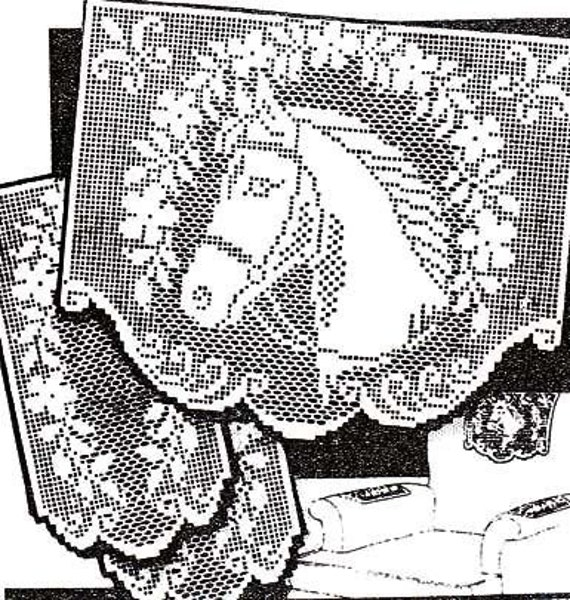 Pdf Filet Crochet Pattern Horse With Garland Vintage Chair Set Etsy