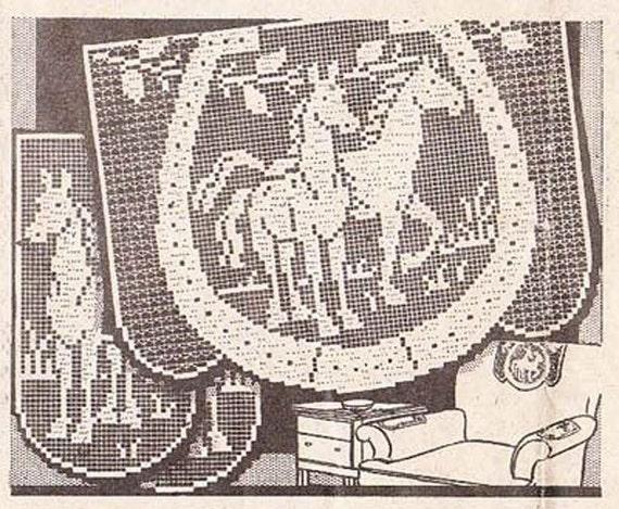 Filet Crochet Chair Set Horses In Horseshoe Pattern Doilies Etsy