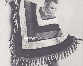 Crochet Poncho in 3 Colors Vitnage 1960s Pattern PDF