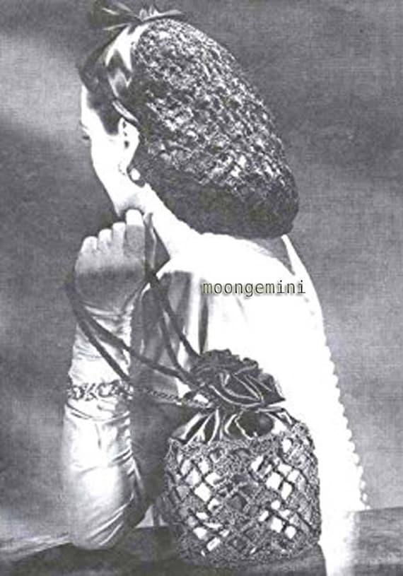 Crochet Snood Lacy Snood And Drawstring Handbag Crochet Hair Etsy