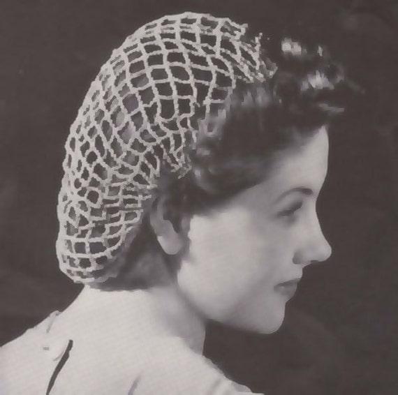 Pdf Beach Net Fishnet Crochet Snood Hairnet Cap Hat Pattern Etsy