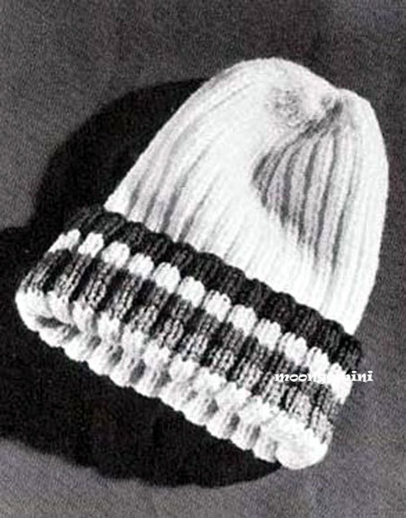 4d6b0fecf5f4e6 Knitted Beanie Pea Stocking Cap Knit Hat Vintage Knitting   Etsy