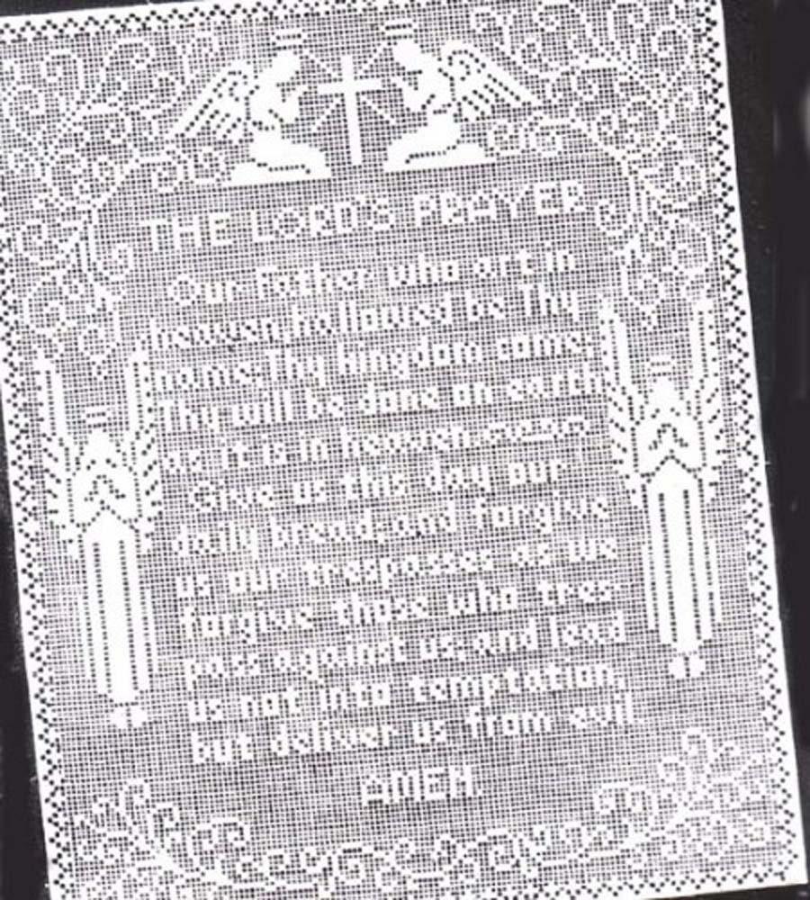 Filet Crochet The Lords Prayer Wall Panel Vintage Pattern Etsy