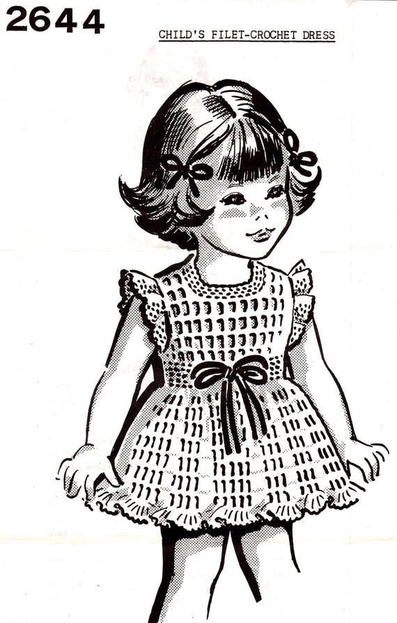 Little Girls Dress Vintage Crochet Pattern to Fit Sizes 4 6 8 | Etsy