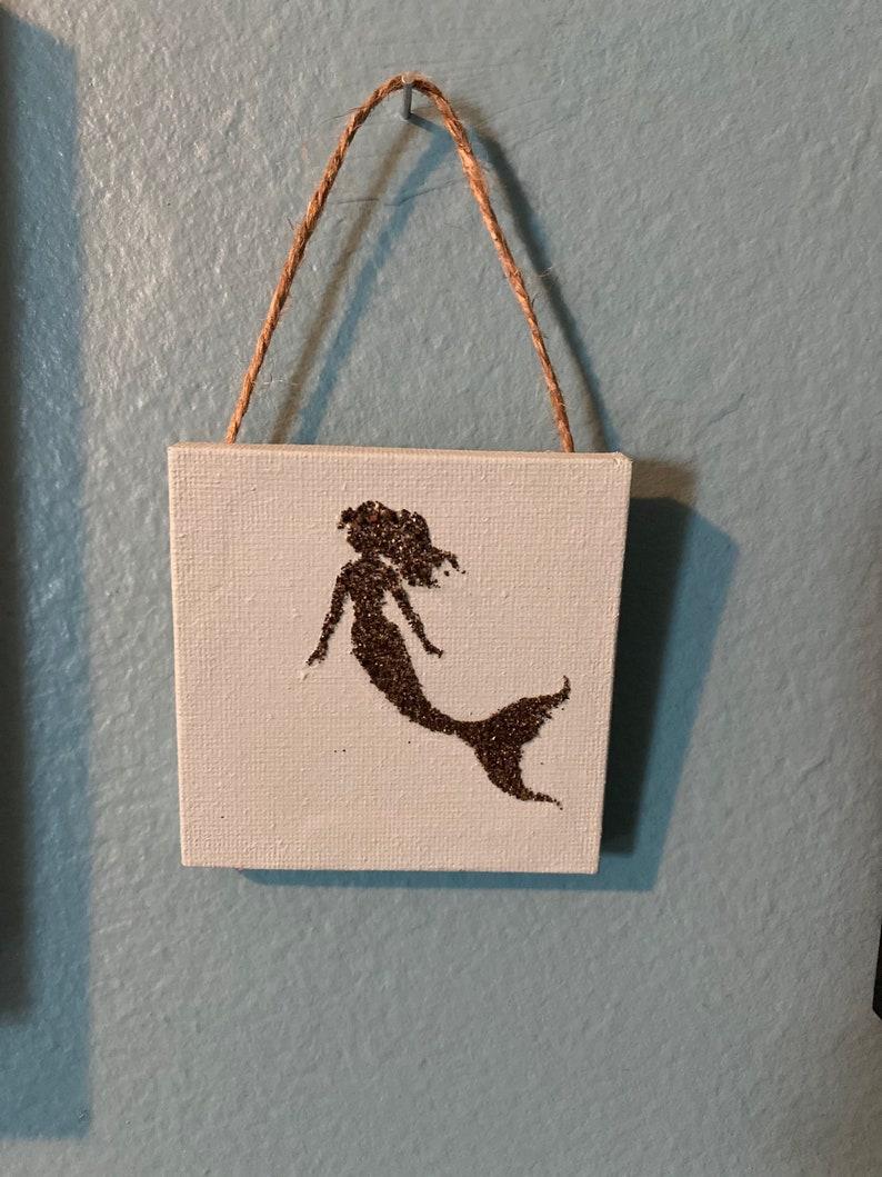 Mermaid art Santorini Mermaid mini canvas Mermaid ornament