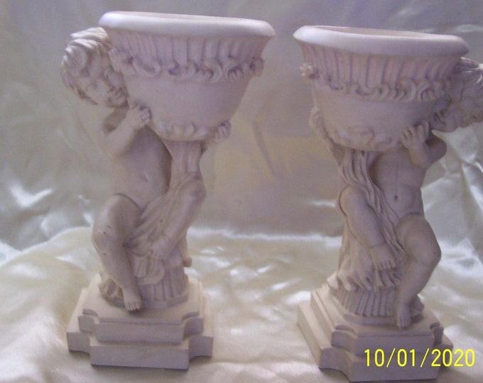 Rare 2 Angelic Grecian or Roman Style Bookends Planter Candle Holder