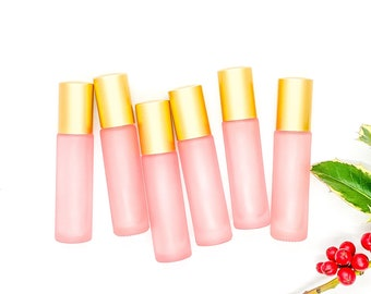 10ml FROSTED Blush Glass Roller Bottle