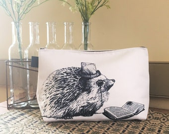 Hedgehog Makeup Bag, Hedgehog Cosmetic Bag, Zip Travel Bag, Zipper Carry-all