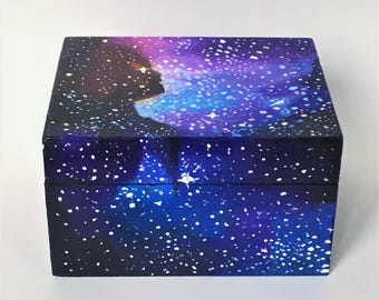 "Galaxy Painted Jewelry Box / Upcycled Hand Painted Wooden Keepsake Box / 5"" x 3.5"" x 3"""