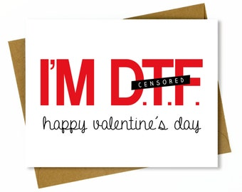 Dirty Valentine's Day Card for Boyfriend or Husband / Sexy Valentine / Dirty Valentine / Naughty Valentine - Down to F*ck, Happy Valentine