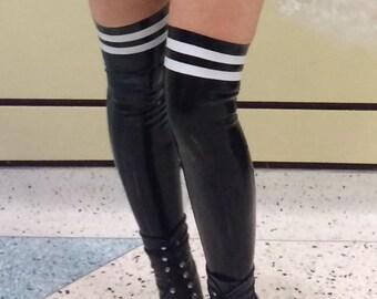 Latex Thigh-High Athletic Socks