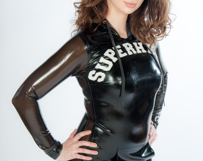Latex SUPERHERO Hoodie Dress with Leather Details