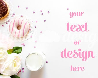 Download Free Peony Chocolate Donuts Photography Mockup White Desktop Stationery Styled Stock Mock up Social Media Digital Background Brand Product PSD Template