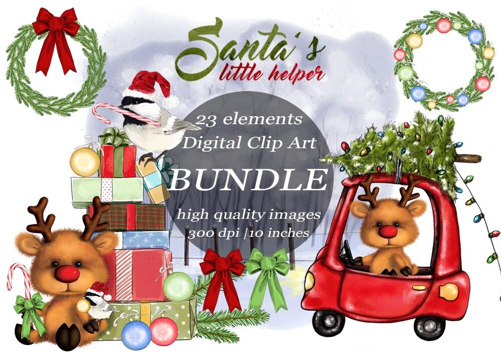 Christmas Clipart Bundle Rudolph Santa's Helper Clip Art ...