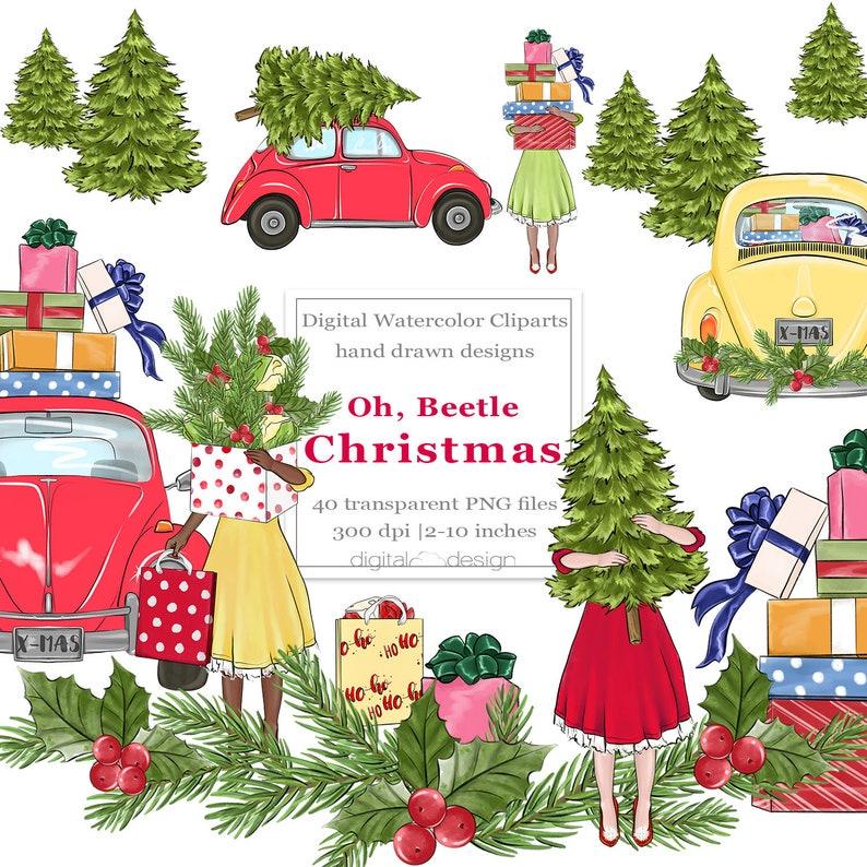 Christmas Retro Car Clipart VW Beetle Illustration Shopping image 0