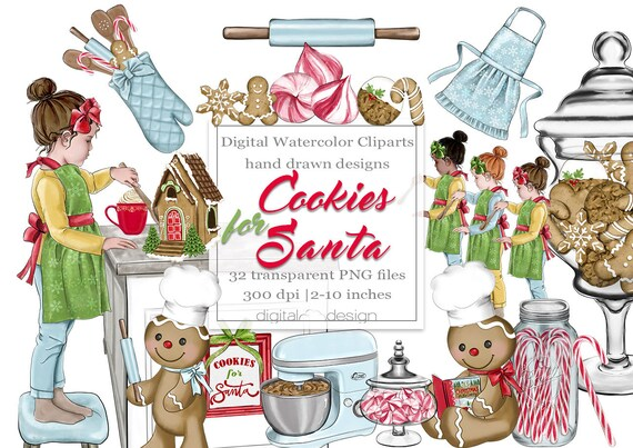 Baking Christmas Cookies Clipart.Christmas Cookie Clipart Baking Clip Art Planner Sticker Christmas Season Holiday Watercolor Gingerbread House Cooking Girl Santa Candy Cane