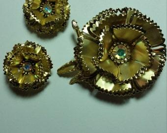 Vintage Floral Brooch & Earrings Demi Parure