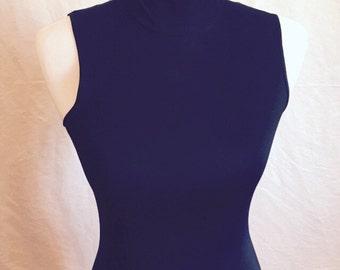 Sleek, skinny, full length black sleeveless maxi dress