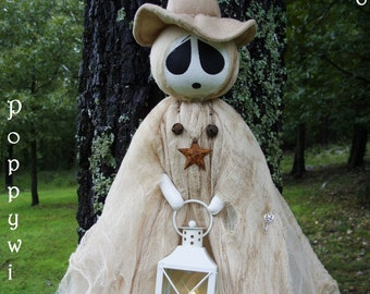 "OOAK Primitive HALLOWEEN Folk Art Tattered Witch Ghost Doll with Lantern and Timer Tea Light - 50"" Long * POPPYWISE *"