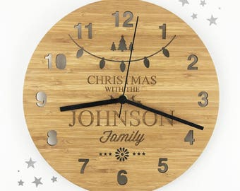 Christmas Bamboo Clock