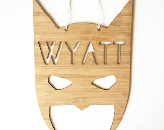 Superhero Mask Personalised Wall Hanging