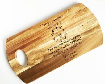Personalised Santa Christmas Eve Wooden Serving Board