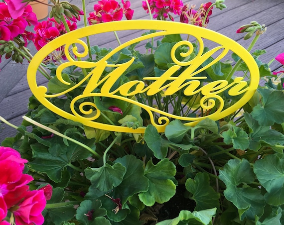 gift for mother fancy metal sign, word mother, garden gift stake for mom, flower pot decor, mother's day gift idea