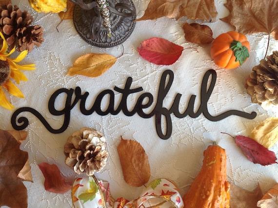grateful word metal wall art, grateful wall decor, home decor, wall art, fall sign, housewarming gift, grateful sign, word art