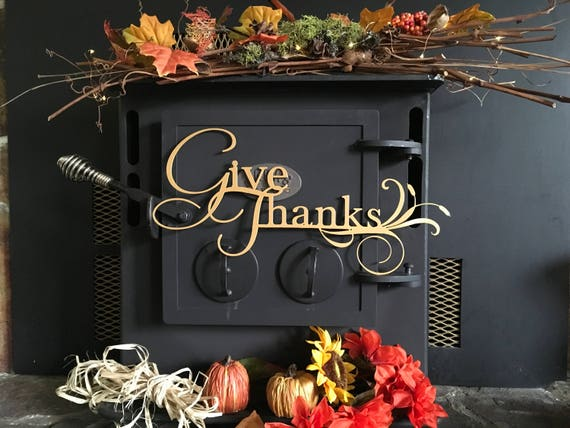 Give Thanks metal wall art, home decor, unique gift, metal sign wall art, housewarming gift, give thanks metal words