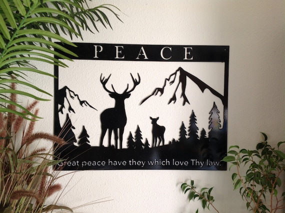 Bible verse metal wall art, Great peace have they which love Thy law, Scripture wall art, Psalm 119 verse 165