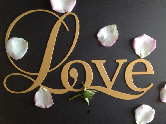 LOVE metal wall art sign, Love word wall decor, the word love in metal -black, gold and silver, wedding gift, girlfriend, fancy love sign