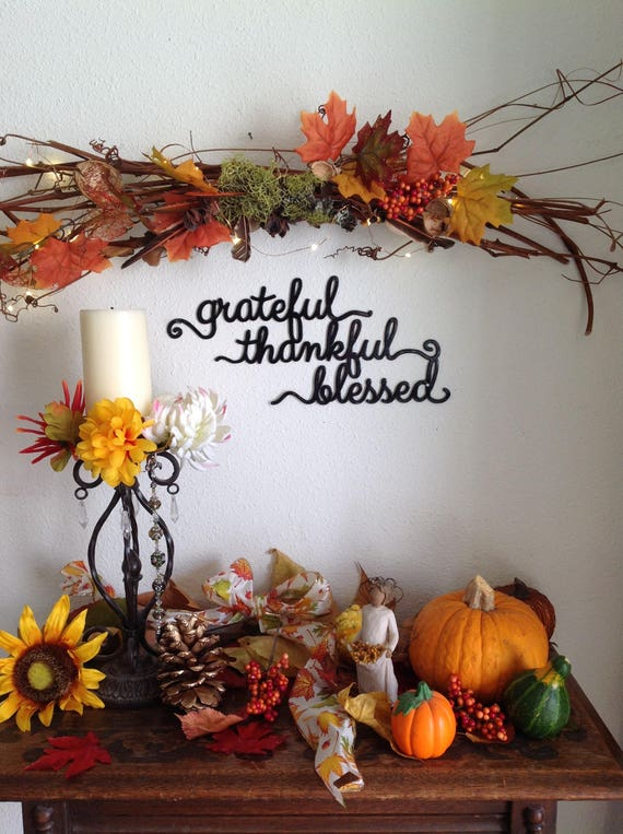 grateful, thankful, blessed metal art sign, powder-coated, gratitude metal wall decor, blessed sign, wall art, grateful sign, thankful sign