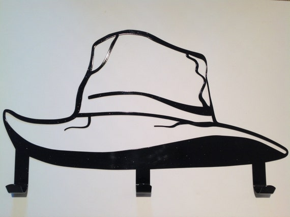 metal art hat rack, three hooks, metal hat rack, home decor, western decor, wall hat hanger, new home gift, country western decor