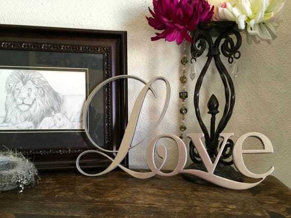 The word Love metal wall art, wedding decor, Love metal sign, silver colored, 1/4 inch thick aluminum, hand-polished metal art, wall decor
