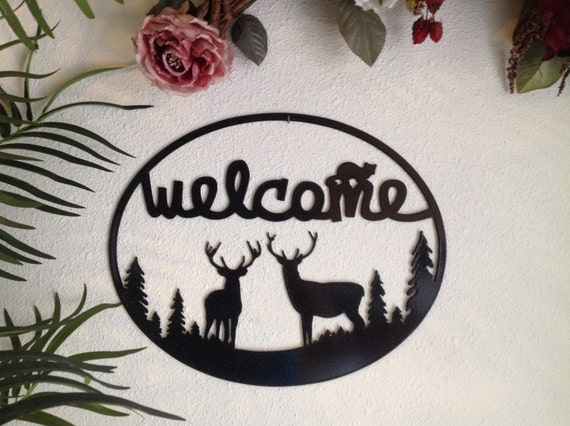 deer metal art welcome sign, deer decor, nature inspired, welcome signage, metal door sign, nature lover wall art, metal wall hanging
