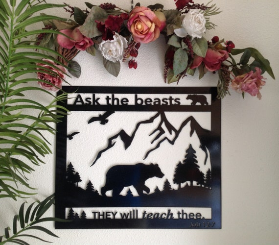 bear metal wall art, housewarming gift, gift for him, Bible verse wall art, bear in the woods, cabin decor, man cave wall art