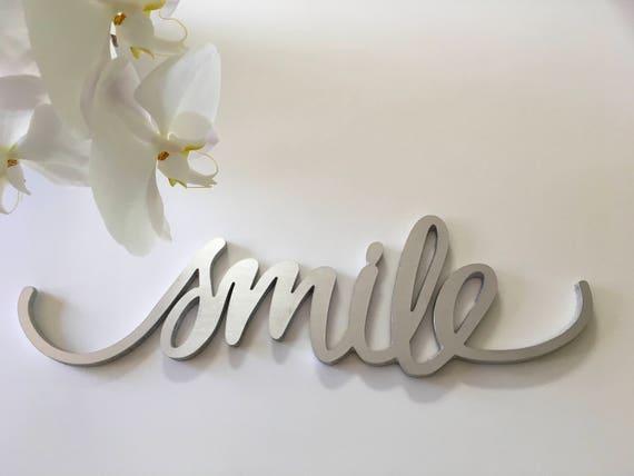 Smile wall metal art decor, mantel decor, home decor, wall hanging, smile word art, smile wall hanging, photo prop,smile metal art,smile