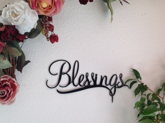 Blessings metal wall art, word sign Blessings wall decor, wall art, home decor, housewarming gift, gift for her, Christian sign